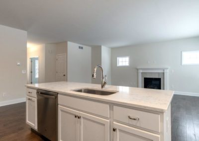 kitchen island and gas fireplace at the franklin