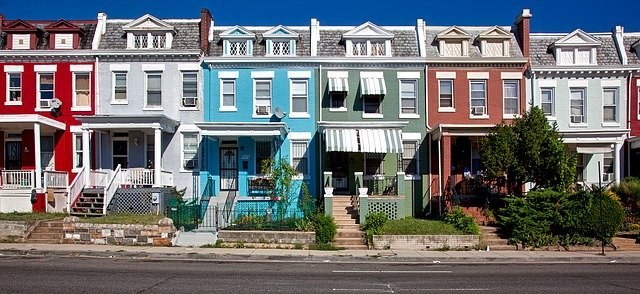 Buildings painted in different colors.